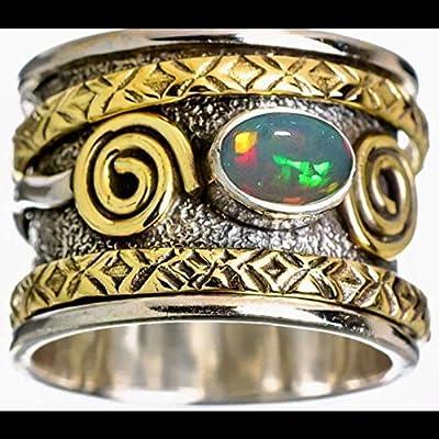 Bague en argent sterling 925 avec anneau pour femmes et hommes, bague unisexe, bague d'opale éthiopienne déclaration, bague vintage