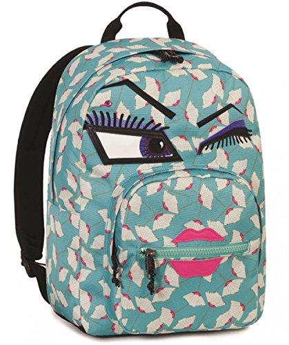 Seven Zaino Invicta - Ollie Pack Face YAP - Azzurro - Occhiolino - Tasca Porta pc Padded - Scuola e Tempo Libero Americano 25 LT
