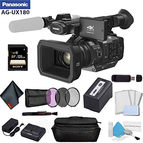 Panasonic AG-UX180 4K Premium Professional Camcorder Bundle with Sony 128GB SDXC Memory Card + 3 Piece Filter Kit + More