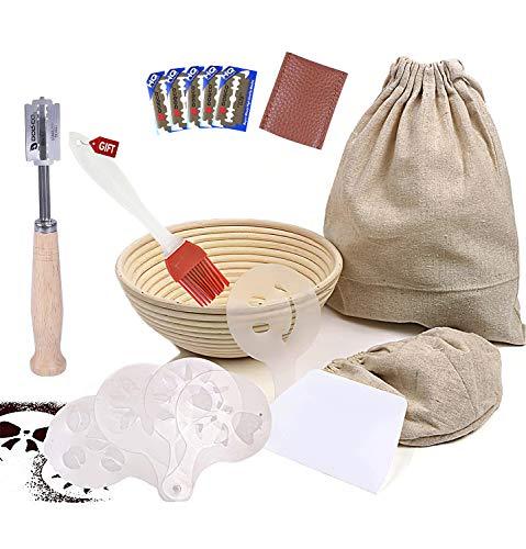 Banneton Proofing Basket for Sourdough Bread Starter | Premium Baking Kit 7 Pack Set | Brotform Making & Lame, Cutter Tool & Linen Liner & Stencils & Bread Bag & Pastry Brush | 100% Natural Rattan