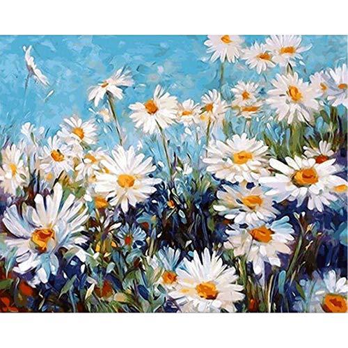 DMLGQ digitale schilderijen om zelf te maken, olieverfschilderijen, thuisdecoratie, handgemaakt, canvas met vulling, 16 x 20 inch (40,6 x 50,8 cm), chrysantheme wit Incorniciato