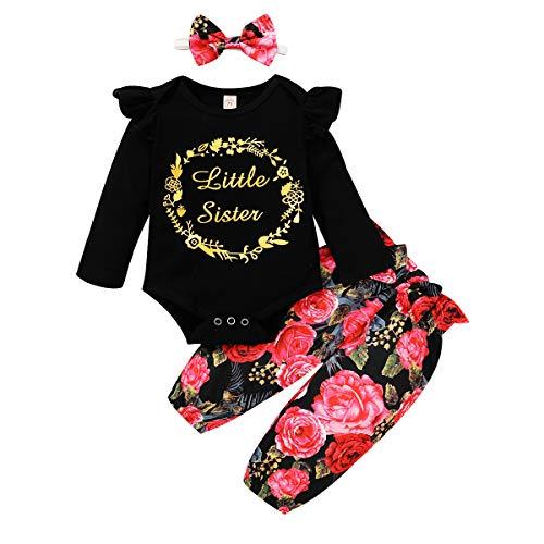 Borlai Baby Toddler Sister Matching Outfits Romper/Shirt+Floral Pants/Skirt+Headband