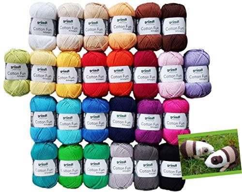 Gründl Cotton Fun Wollset (Cotton Fun XXL 20x50Gr.) Farbauswahl leider Nicht möglich inkl. 1 Anleitung für EIN Meerschwein