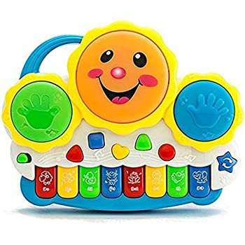 Rangwell Drum Keyboard Musical Toys with Flashing Lights - Animal Sounds and Songs