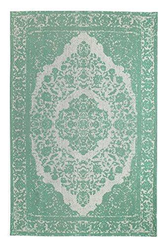 Mogenland Vintage Orient Teppich MILANO Grün Modern Kurzflor Handgearbeitet 240 x 170 cm