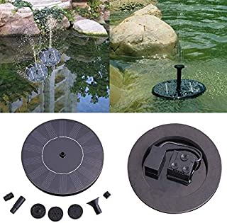 Shawin 2Pcs Solar Power Bath Fountain-Round Water Floating Pond Garden Patio Decoration 16X16 cm