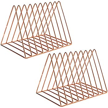 PENGKE File Organizer Triangle Iron Desktop Storage Book Rack Bookshelf Copper Magazine Newspaper Holder Art Desktop Organizer Rack,Rose Gold Pack of 2