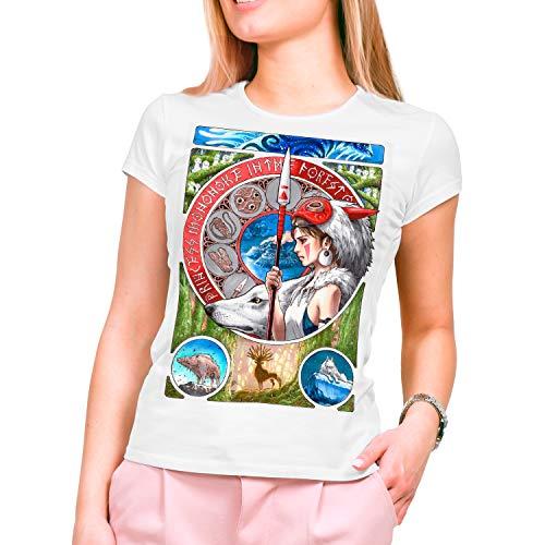DibuNaif Camiseta Mujer La Princesa Mononoke, Studio Ghibli