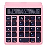 Sunreed 2 in 1 Wireless Numeric Keypad Calculator Numpad,Bluetooth Keypad with LED Screen,Financial Accounting Number Keypad for Mac/Notebook/Computer (Pink)