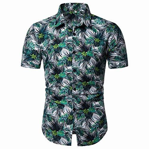Jinyuan Camisa de Hombre Camisa Hawaiana de Playa con Estampado de Verano Camisa Hawaiana de Manga Corta para Hombre Camisa de Hombre