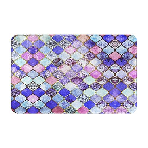 Alfombras de baño,alfombras de baño,Azulejo marroquí Morado Real,Malva e índigo,Alfombras de baño de Ducha de Felpa Lavable Extra Suave Antideslizante 15.7'X23.5'
