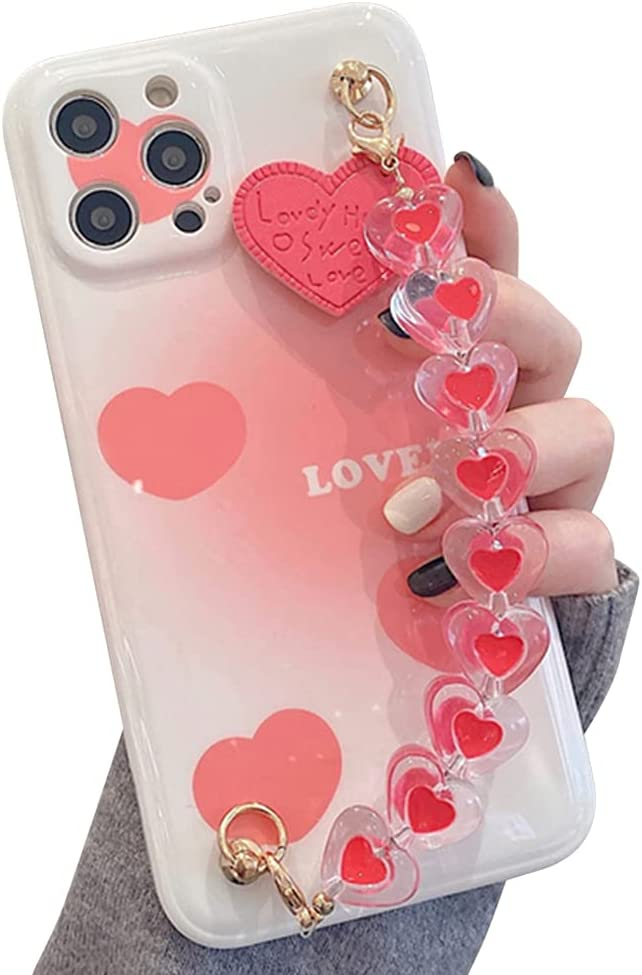 Compatible with iPhone 11 Pro Max Case,Cute Pretty with Crystal Love Heart Bracelet Chain,Soft TPU Bumper Shockproof Anti-Scratch Protective Cover for Women Grils(6.5 inch)(Pink)