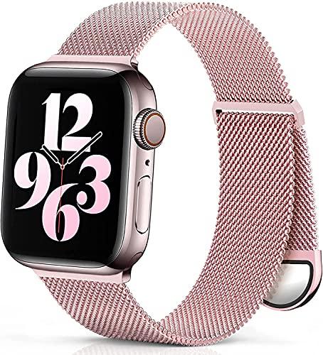 PURRY Pulsera de metal compatible con Apple Watch, 38 mm, 40 mm, 42 mm, 44 mm, acero inoxidable, malla de metal con imán, compatible con iWatch Series 6, 5, 4, 3, 2, SE, Rosa rosa, 38mm/40mm