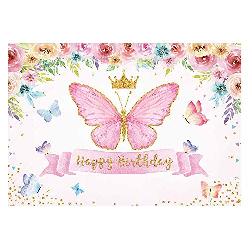 Funnytree Happy Birthday Butterfly Party Backdrop Baby Girls Fairy Princess Purple Pink Rose Floral Gold Photography Backdrop Kids Sweet Cake Table Banner Decor Supplies 7x5ft