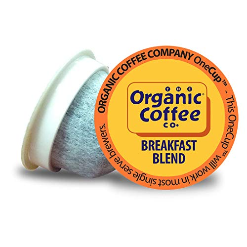 The Organic Coffee Co. Breakfast Blend 36 Ct Medium Light Roast Compostable Coffee Pods, K Cup Compatible including Keurig 2.0