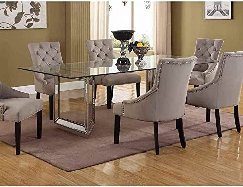 Best Master Furniture Mirrored Wood service Dining with Table Tempered G Cheap