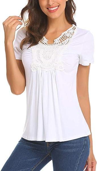 LaLaLa Mujer Blusa de Manga Corta de Verano para Mujer Camiseta Básica de Playa Camiseta con Cuello en V Top