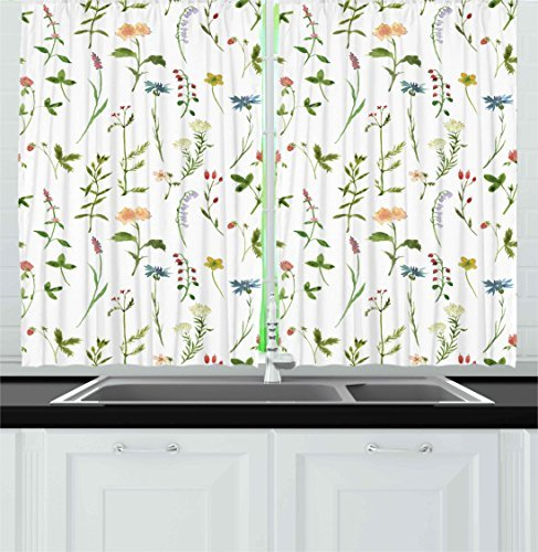 """Ambesonne Floral Kitchen Curtains, Spring Season Themed Watercolors Painting of Herbs Flowers Botanical Garden Artwork, Window Drapes 2 Panel Set for Kitchen Cafe Decor, 55"""" X 39"""", Ivory"""