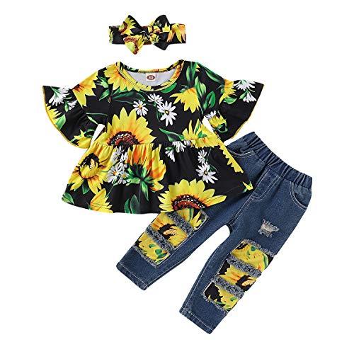 SANMIO Kleinkind Mädchen Kleidung Outfits, Mädchen Baby Blumen Jeans Hose Set Rüschen Langarm Kurzarm Outfits (Schwarz-1, 18-24 Monat)