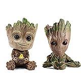 2 piezas Baby Groot Flower Pot Pen Pot PVC Hero Modelo Guardianes de la galaxia Manualidades Figura Decoración del hogar (B)