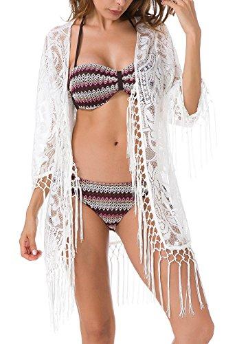 Jusfitsu Damen Sommer Spitzen Bluse Tops Strand Badeanzug Bedecken Pareos Kimono Cardigan Strandkleid Weiß Etikett XL= DEL
