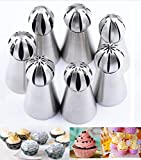 Joinor NEW Version 7pcs Set Stainless Steel Sphere Ball Tips Russian Icing Piping Nozzles Tips...