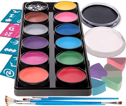Face Paint Kit for Kids - 12 Large Washable Paints + 20ml Black/White, 30 Stencils, 5 Brushes Safe Facepainting for Sensitive Skin, Professional Quality Body & Facepaints Halloween Makeup Supplies