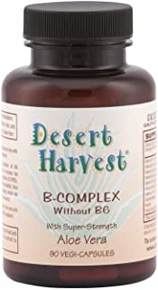 Desert Harvest B-Complex - Without B6 (90 Capsules) Formula Includes B1, B2, B3, B5, B7, B9, B12 + for Metabolism, Immune System, Healthy Hair, Skin, Muscle. No B6 - Interstitial Cystitis Friendly