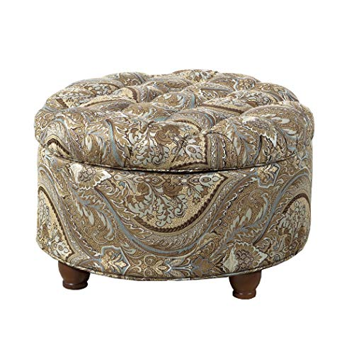 HomePop Large Button Tufted Round Storage Ottoman, Brown and Teal Pasley