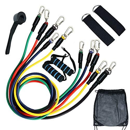SDGDFXCHN Fitnessband Set(11PCS), Widerstandsbänder-Stretchband Fitness Gymnastik Gummibänder für Muskelübungen/Sport/Yoga/Dehnen