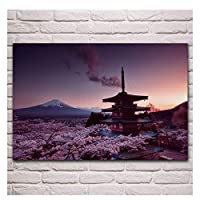 ちゅれいタワーマウント富士日本自然風景ポスターリビングルーム家の壁装飾帆布アートプリント-60x90cmフレームなし