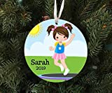 DKISEE Personalized Girl On Trampoline Ornament Keepsake - Custom Made to Order - 2019 Unique...