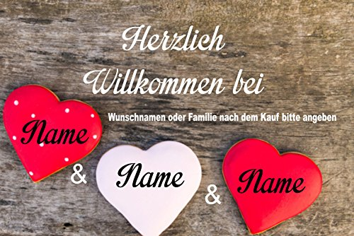 Creativ Deluxe Willkommen bei Fussmatte m. Wunschnamen - Fussmatte Bedruckt Türmatte Innenmatte Schmutzmatte lustige Motivfussmatte