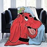 Lucky House1 Cli-Ffo-rd Powerful Th-e B-Ig Re-d D-Og Ultra Soft Throw Blanket Flannel Fleece All Season Light Weight Sofa Couch Creative Warm Blanket,Black,80'' X60