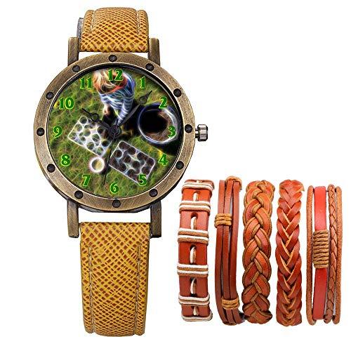 Meisjes Merk Retro Brons Vintage Lederen Band Dames Meisje Quartz Horloge Armband 6 Sets Abstract Bloemen 651.Kinderen Zaden Hebben Zaaien