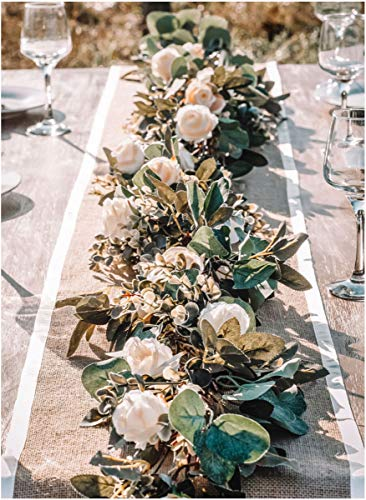 Eucalyptus Garland with Flowers - 17 Ivory Roses - Lush, Natural Looking Eucalyptus and Flower Garland Decor, Floral Garland Greenery for Wedding Table Decor with Abundant Vines, Rose Leaves