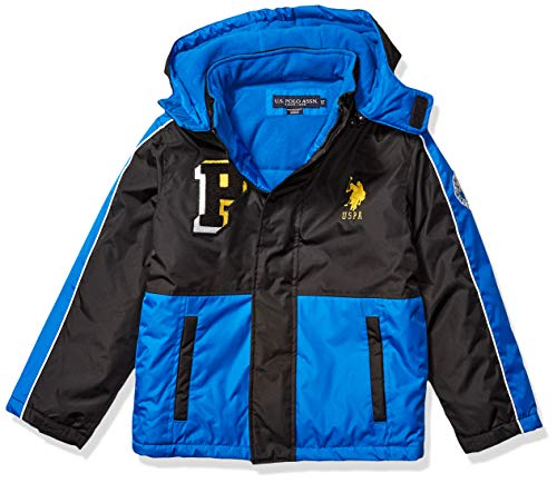 US Polo Assn Boys Stadium Parka Outerwear Jacket Down Alternative Coat Side Pockets Blue TileBlack 7 UK