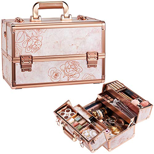 Joligrace Makeup Case Rose Gold Beauty Cosmetic...