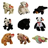 Ty Beanie Babies - Set of 9 Animal Bears (Almond, China, Cinders, Sammy, Sequoia +4)(5-8.5 inch)