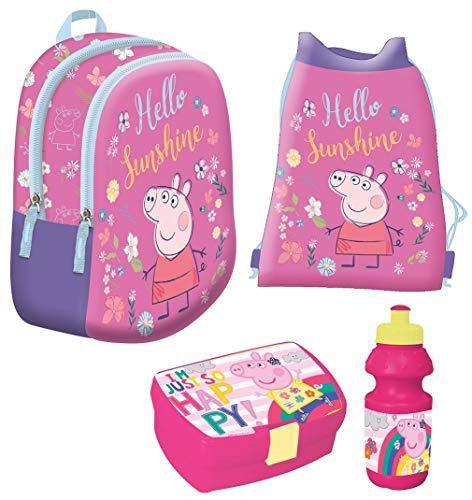Familando Rucksack-Set Peppa Pig Peppa Wutz Happy Rosa / Pink 4tlg. mit Brotdose, Trinkflasche und Turnbeutel z.B. für den Kindergarten / Krippe