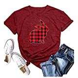 Shirts for Women Sexy AODONG Womens Short Sleeve Tops,Womens Cute Letters Printing Casual Valentine's Day Short Sleeves Blouses Tops Wine