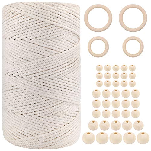 3mm x 220 Yards Cotton Macrame Cord Kit, Natural Cotton Cord with 44pcs...