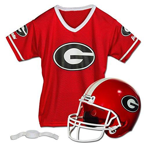 Franklin Sports Georgia Bulldogs Kids College Football Uniform Set - NCAA Youth Football Uniform Costume - Helmet, Jersey, Chinstrap Set - Youth M