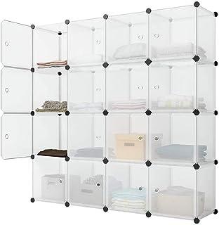 Sawekin 16 cubes à monter soi-même, système d'étagère de penderie pliable, armoire combinée modulaire pour économiser de l...