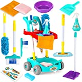 Small Fish Kids Cleaning Set for Toddlers, Pretend Play Housekeeping Supplies Kit for Boys and Girls Complete with Broom, Mop, Dust Pan, Spray Bottle and More, Little Helper Tools and Montessori Toys