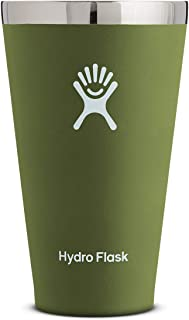 Hydro Flask 16 oz True Pint Cup for Beer or Cider - Stainless Steel & Vacuum Insulated - Stackable & Shatterproof - Olive