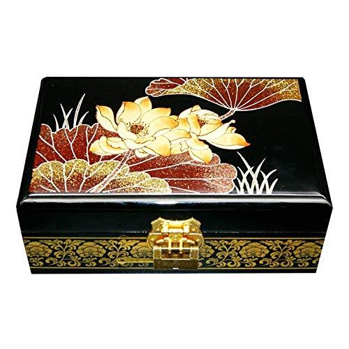 ZZCC Caja de joyería de, Pintado a Mano Push-Light Light Light Jewelry BoxLacquera Joyería de Madera Organizador, Muebles orientales Chinos y artesanías de Laca