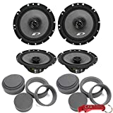Alpine SXE-1726S 6.5' Car Audio Coaxial Speakers 4-Pack (2 Pairs) Bundle & FAST Rings 3-Pc Audio Enhancement Kits. Rings Increase Mid-Bass, Reduce Vibration & Rear Reflection. 40W RMS 220 Peak Ea.