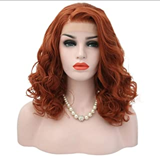 Huanxidp Orange Red Color Synthetic Lace Front Wig Glueless Heat Resistant Wigs for Women