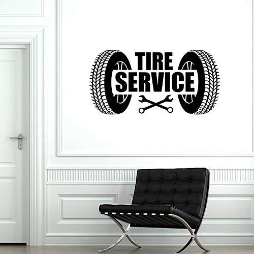 JXWH Reifenservice Autowerkstatt Wandaufkleber Reifenzubehör Garage Dekoration Vinyl Aufkleber wasserdicht Wandkunst DIY Wandbild 87x43,5cm